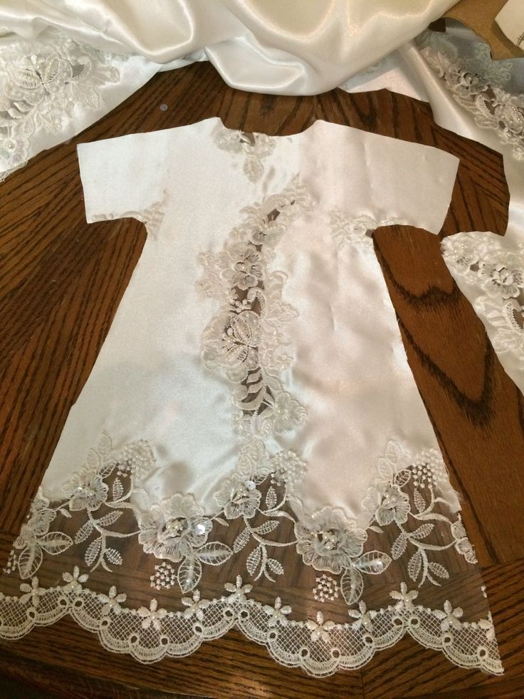 Little Angel gowns. These gowns are made from old wedding dresses donated. The baby gowns are given to the hospitals for infants funeral gowns.