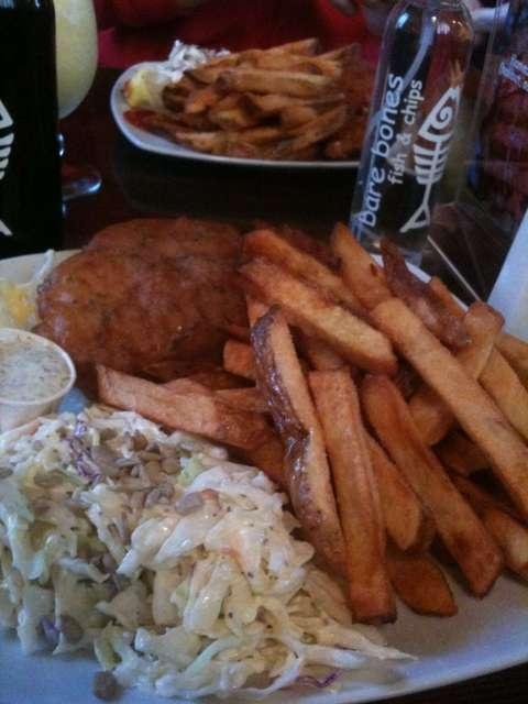 halibut with traditional batter, half fries half coleslaw @ BARE BONES in Port Alberni, Vancouver Island