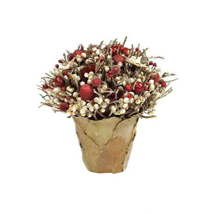 Идеи новогоднего декора Итальянские мастера оформили этот необычный кустик специально по случаю рождества. Ваза выполнена из опавших осенних листьев, а извилистые темные ветви густо украшают ярко красные ягоды и прекрасные зимние цветы. http://bucalapi.ru/podarki/nogodnie_podarki_2014/novogodniy-dekor