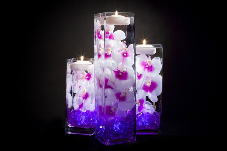 Violet Floral Centerpieces with LED Lights and Candles