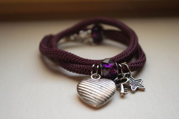 Wrap bracelet climbing cord & charms  earthly by Unikacreazioni