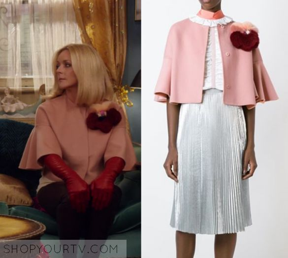 "Unbreakable Kimmy Schmidt: Season 3 Episode 2 Jacqueline's Pink Crop Jacket | Shop Your TV Jacqueline Voorhees (Jane Krakowski) wears this light pink crooped coat with applique shoulder in this episode of Unbreakable Kimmy Schmidt, ""Kimmy's Roommate Lemonades!"".  It is the FENDI fur appliqué jacket"