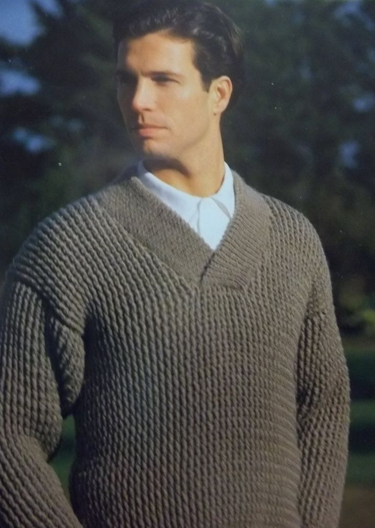 Free crochet pattern vintage Vogue men's crocheted shawl collar sweater