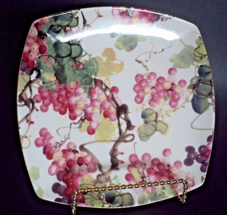 New Skye McGhie Oakridges Fine Porcelain Square Salad Dessert Plate Grape Vine    eBay