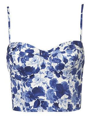 FLARE pick: Topshop blue floral bustier top, $56