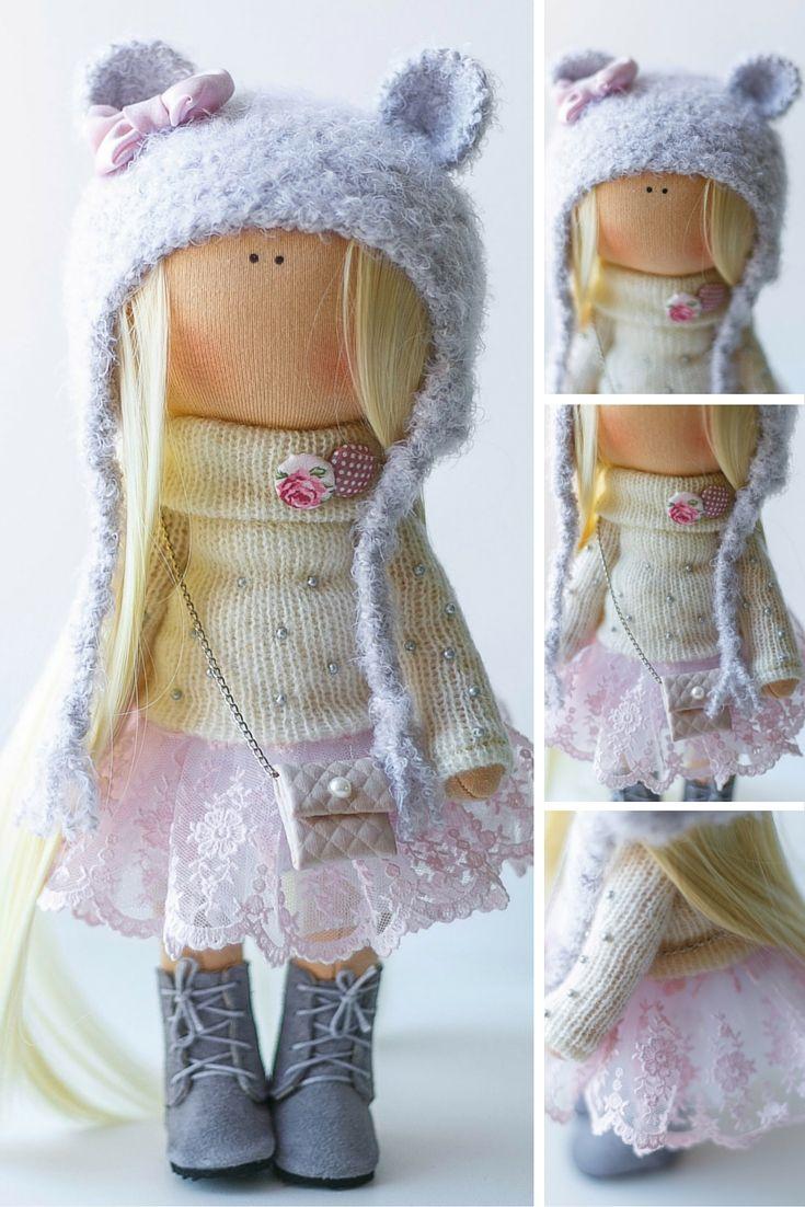 Lovely tilda doll Art doll handmade blonde blue white colors Soft doll Cloth…