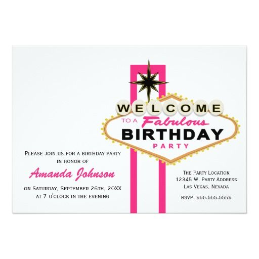 17 Best Images About Las Vegas Birthday Party Invitations