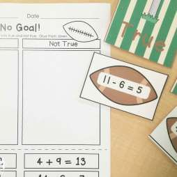 Football math centers: true or not true math equations