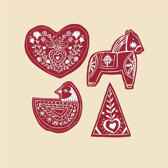 Printable Christmas Ornaments Scandinavian Style by svgarts