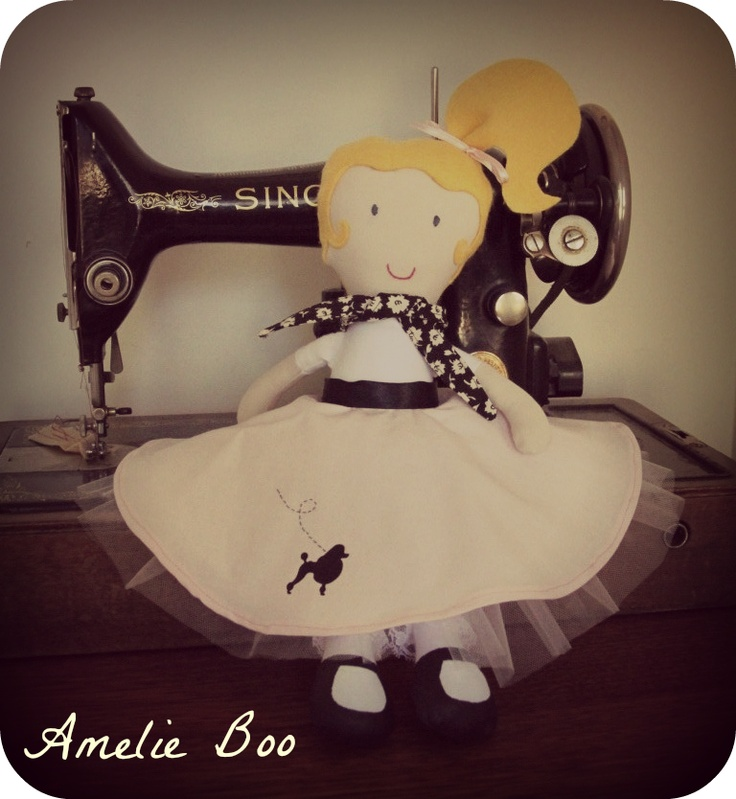 A 50s inspired poodle skirt dolly, for sale now!