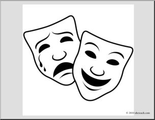 Clip Art: Comedy and Tragedy Masks 1 (coloring page) | abcteach