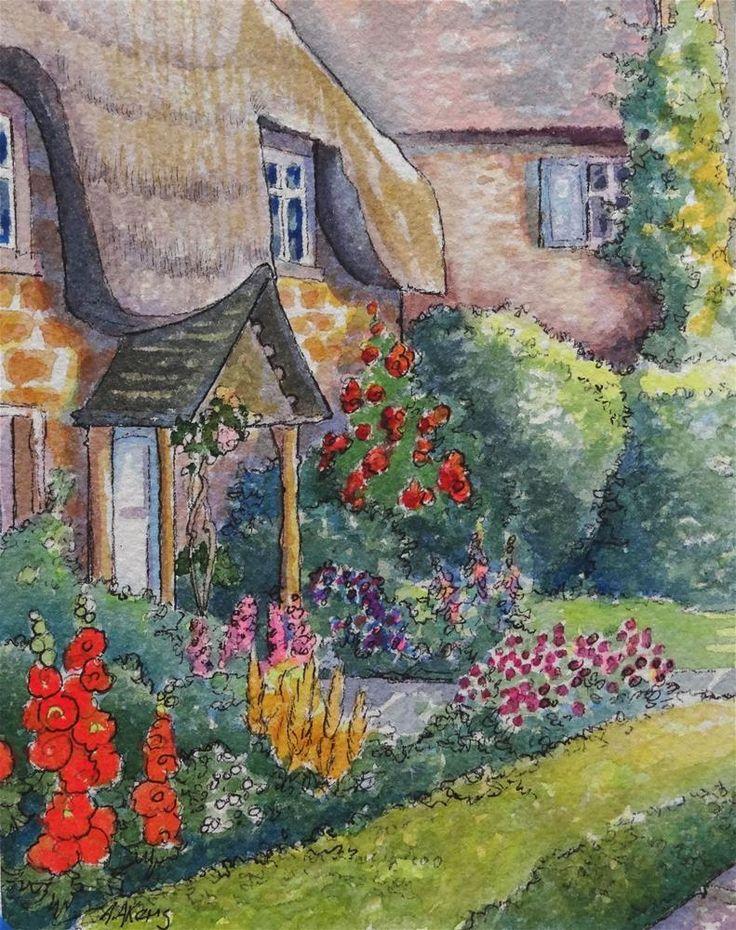 The Doorway Garden Storybook Cottage Series Original Fine Art By Alida Akers