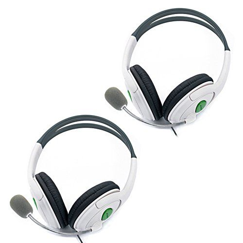 HDE 2 Pack Gaming Chat Headphones Headsets with Microphone Mic for Xbox 360 Live