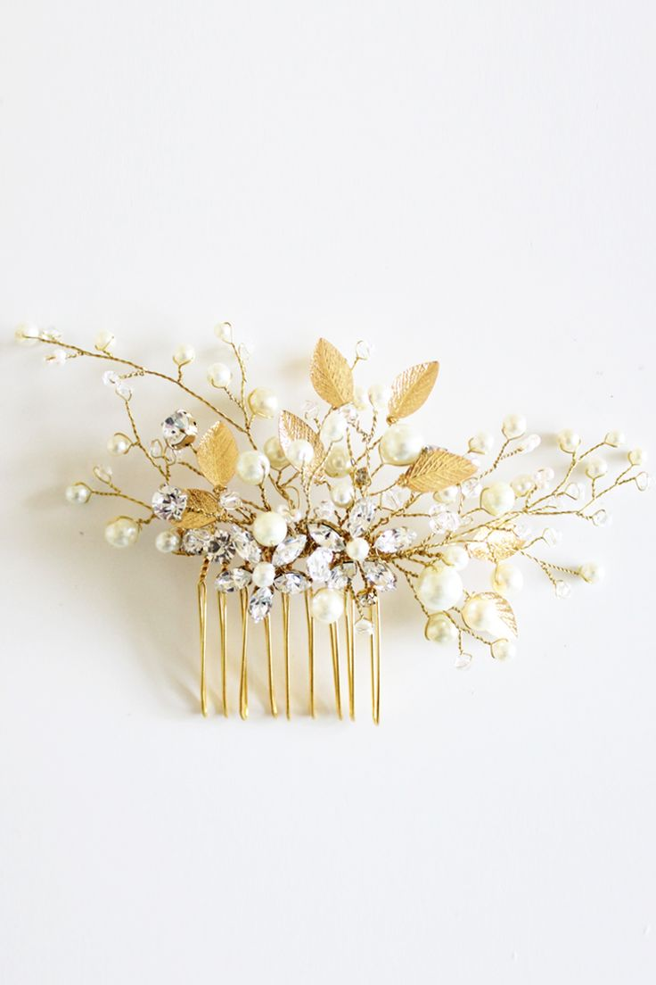 Golden leaves hair clip