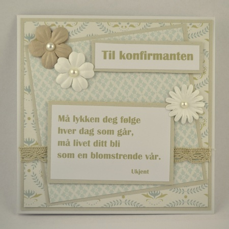 Kort til konfirmant nr 04 Håndlaget kort. Handmade card.