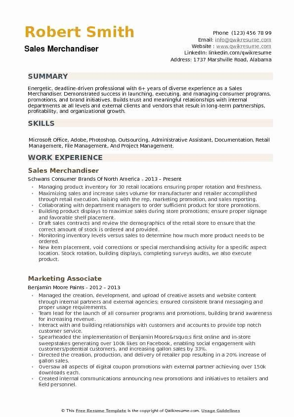 Stocking Job Description Resume Fresh Sales Merchandiser Resume Samples In 2020 Sales Resume Resume Examples Sales Resume Examples