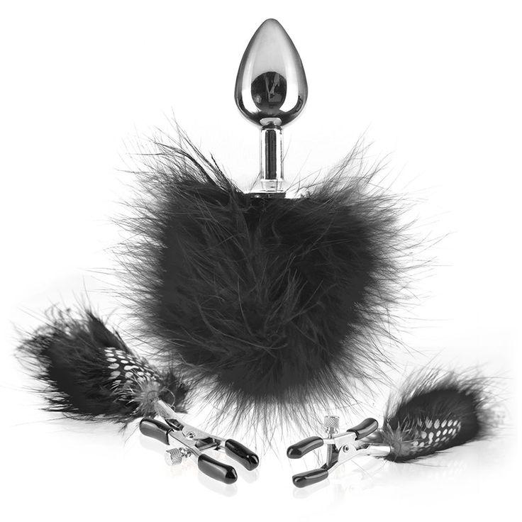Fetish Fantasy Ltd Feather Nipple Clamps & Butt Plug