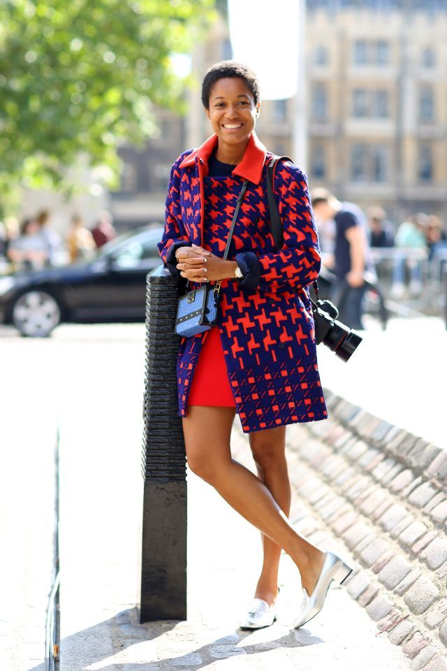 Tamu Macpherson's street style look at London Fashion Week 2015. (Photo: Rex USA)