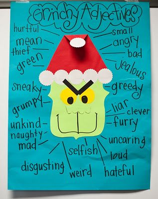 """""""Grinch"""" Adjectives [can compare & contrast with """"Santa"""" Adjectives""""]. May use this as a """"filler"""" that unpredictable day before Christmas break! (In the target language)"""