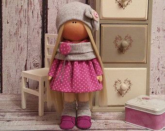 Rabbit doll Tilda doll Interior doll Art doll blonde pink colors Soft doll Cloth…