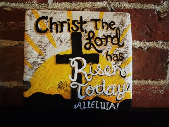 Joyous Easter message distressed wood sign is by expressionshop, $13.00
