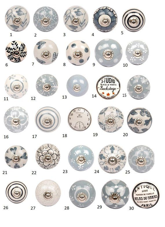 vintage style ceramic cupboard door knobs black white grey rh pinterest com