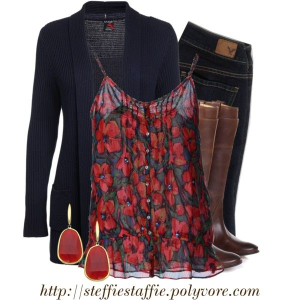 """Navy Cardigan & Red Floral Cami"" by steffiestaffie on Polyvore"