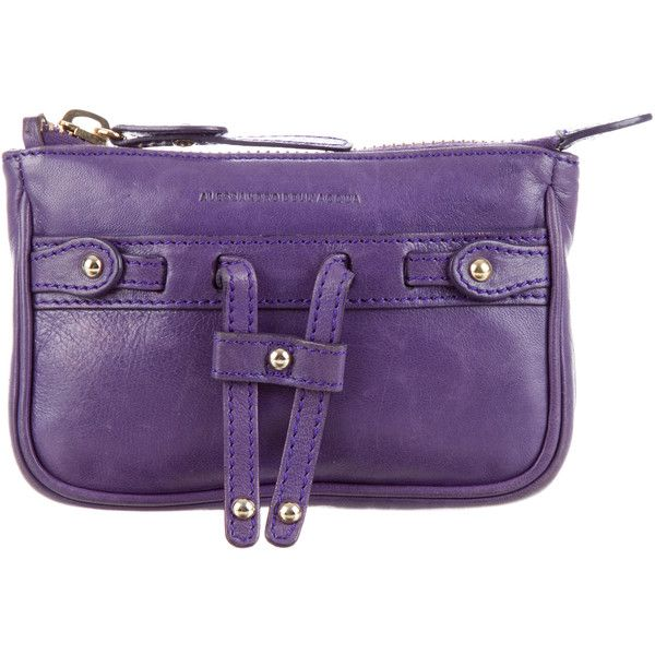 Pre-owned Alessandro Dell'Acqua Logo Coin Pouch ($110) ❤ liked on Polyvore featuring bags, wallets, purple, purple wallet, leather change purse, zipper change purse, zipper coin purse and leather wallets