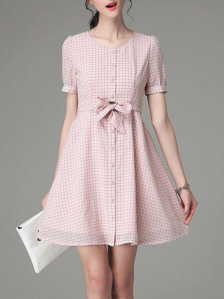 Shop Mini Dresses - Checkered/Plaid Work Bow Short Sleeve Mini Dress online…