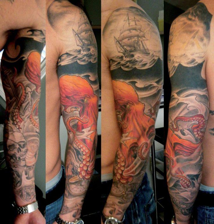 ship and octopus tattoo.   https://www.facebook.com/BlackLabelTattoosByTeemu