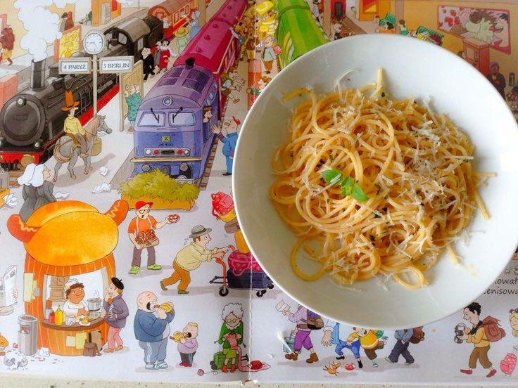 spaghetti z oliwą czosnkową PYSZNE AlaAntkowe BLW