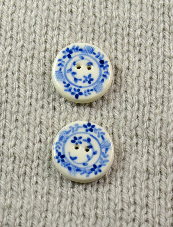 Handpainted round ceramic buttons wtih blue by DebraRutherford, $15.00, pretty