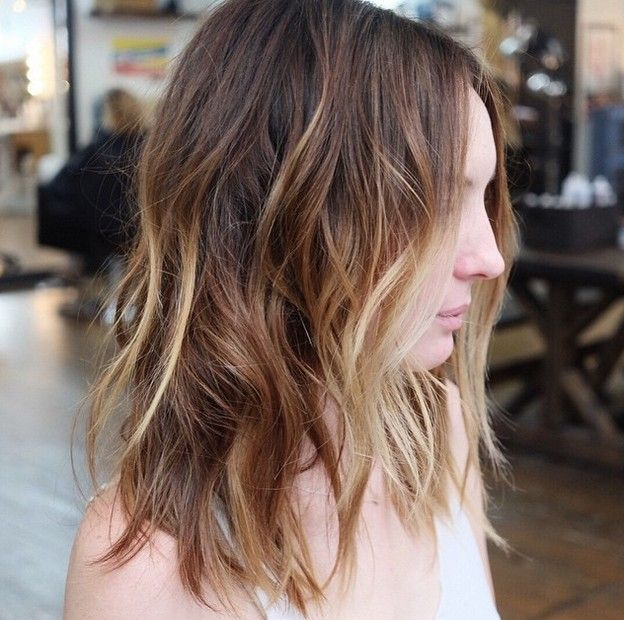 sun kissed balayage choppy bob hairstyle for medium shoulder length hair