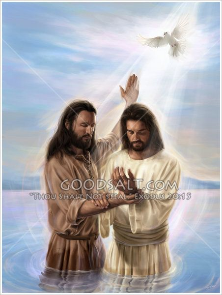 John the Baptist baptising Jesus in the river Jordan. The Heavens open up as a the Spirit of God descends upon Jesus, in the form of a dove.