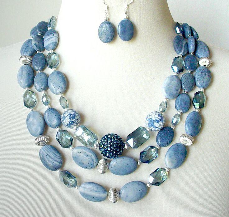 Denim Blue Gemstone Statement Necklace Multi Strand Big Bold Chunky