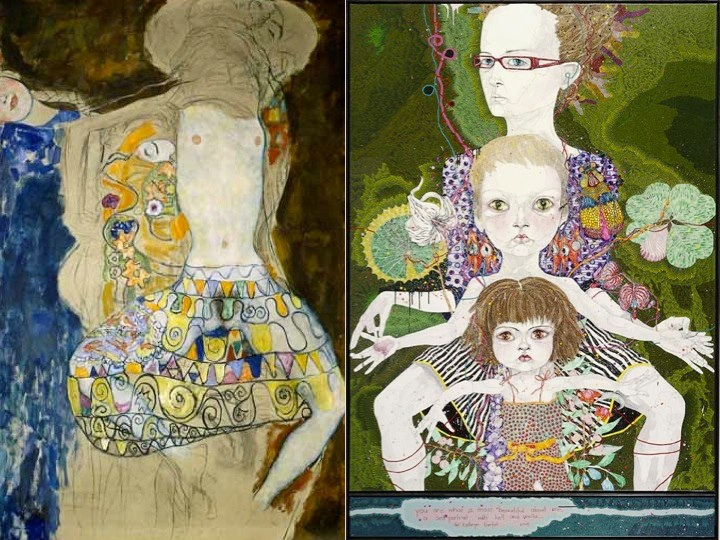 left a work by Gustav Klimt, 1918 - right Archibald Prize 2008 winning painting by Del Kathryn Barton AGNSW - my comparison