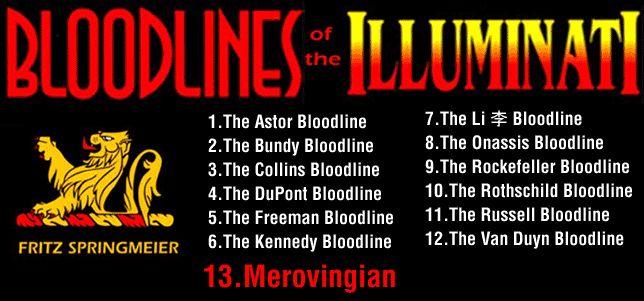 13 Illuminati Bloodlines: Astor, Bundy, Collins, DuPont, Freeman, Kennedy, Li, Onassis, Rockefeller, Rothschild, Russell, Van Duyn and Merovingian