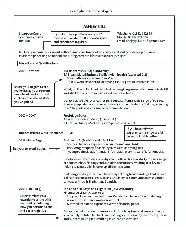 resume format reverse chronological chronological format resume reverse