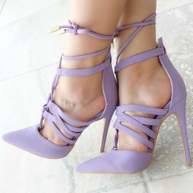 Strappy Lace up Pointy Heels