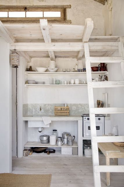 would love to do something like this at our cottage...knock out our ceiling and create a loft.