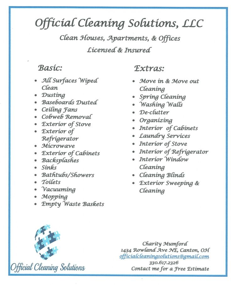 cleaning company services offered