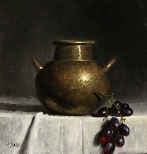 """Still life with Old Hammered Copper  Pot and grapes by Natalia Ivan Clarke Oil ~ 10"""" x 10"""""""