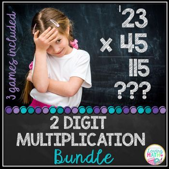 2 digit by 2 digit Multiplication Bundle:  Practice 2 digit multiplication  with your students with these 3 different games. By purchasing this bundle you save 25 %The three games included are listed in my store separately.Game # 1SCAVENGER HUNTDirections:-Tape multiplication sheets (10 of them) to the walls around your room or hang from the ceiling (spread out).