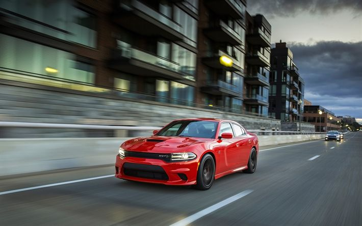 Download wallpapers Dodge Charger SRT Hellcat, motion blur, 2018 cars, street, road, new Charger, Dodge
