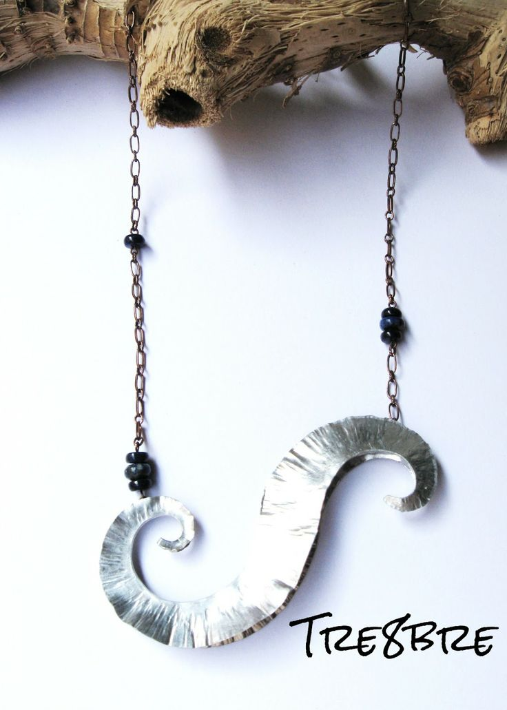 Time Vortex - necklace in foldformed aluminium foil with Lapis lazuli, by Tre8bre