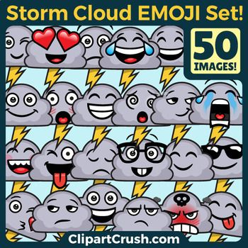 Storm Cloud Emoji Clipart Faces / Stormy Lightning Weather Cloud Emojis Emotions
