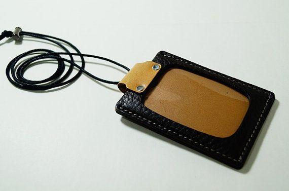 Sostenedor de cuero genuin de la tarjeta de por DubuDumo en Etsy