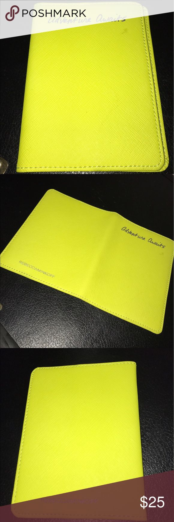 Rebecca Minkoff passport holder Neon yellow passport holder in great condition overall. Small mark on front cover as shown in the picture. Rebecca Minkoff Accessories Key & Card Holders