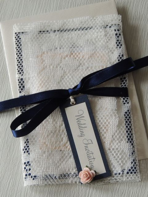 Lace Wrap invite navy, ivory and blush pink handmade by respoke boutique