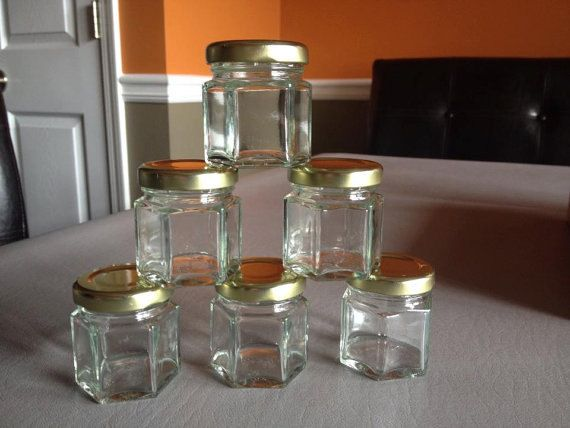 45 qty empty hex mini jar favor for wedding, baby shower, birthday, thank you.    You may use it for honey, candy, jam. etc.    If you need a
